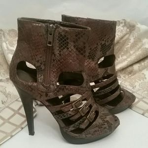 Snakeskin Ankle Heels